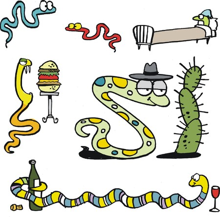cartoon bottle: Vector cartoon of group of funny snakes