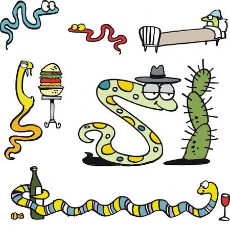 serpiente caricatura: Vector de dibujos animados del grupo de serpientes divertidos