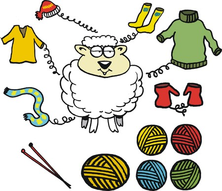 cartoon sheep: Vector cartoon of sheep with wool garments Illustration