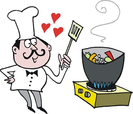 Chef cooking vegetables in wok cartoon Illustration