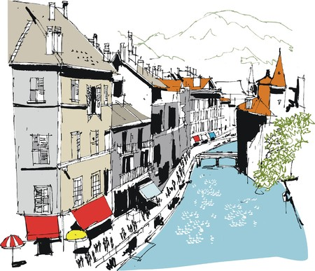 building sketch: Vector illustration of Annecy France showing canal and old buildings