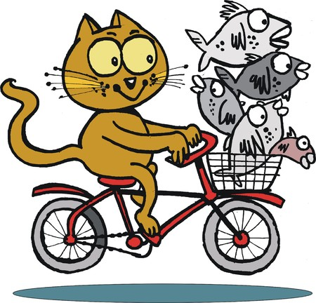 Vector cartoon of cat on bicycle with fish basket Vector