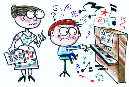 stools: Cartoon of music teacher instructing piano pupil