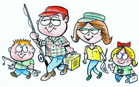 excursion: Cartoon of family group on fishing excursion Stock Photo