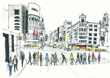 Illustratie van voetgangers oversteken weg, Ginza Tokyo