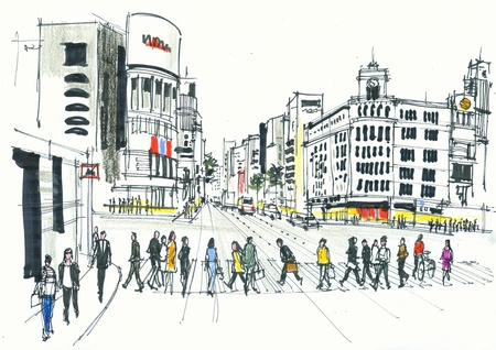 Illustration of pedestrians crossing road, Ginza Tokyo