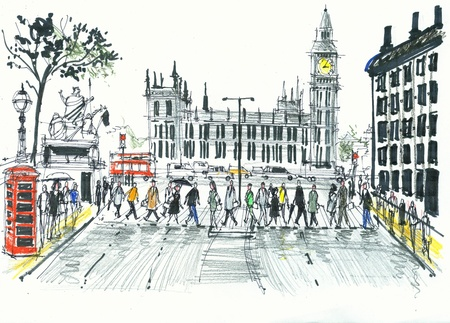 city of westminster: Illustration of pedestrians crossing road, Westminster, London England Stock Photo