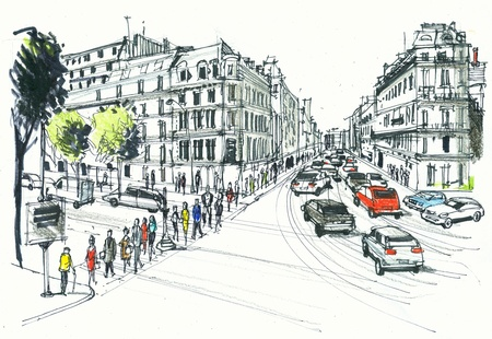 Illustration of pedestrians crossing road, Champs Elysee, Paris France  illustration