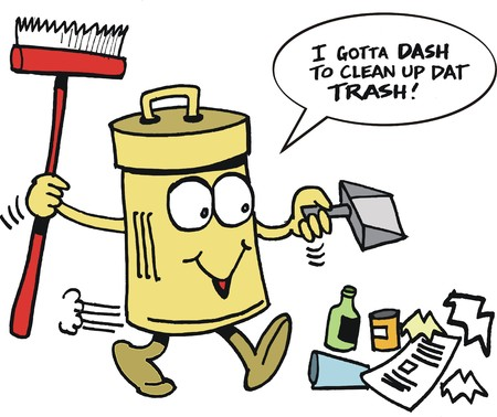 Vector cartoon of funny rubbish bin picking up trash Çizim