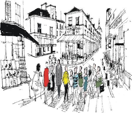 foules: illustration de Montmartre caf� sc�ne, Paris France