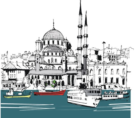 Vector illustration of Istanbul with buildings, and boats