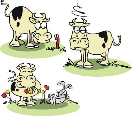 bewildered: Vector cartoon of cows in field with rabbit