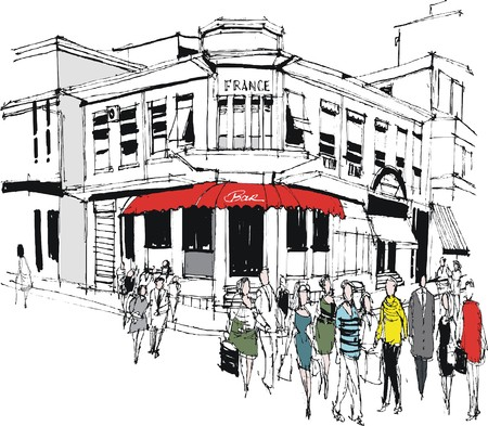 informal: Vector illustration of old French cafe and pedestrians