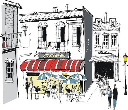 Vector illustratie van cafe restaurant en oude gebouwen plus voetgangers, Frankrijk Stock Illustratie