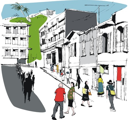 Vector illustration of New Caledonia city street scene with pedestrians Vector