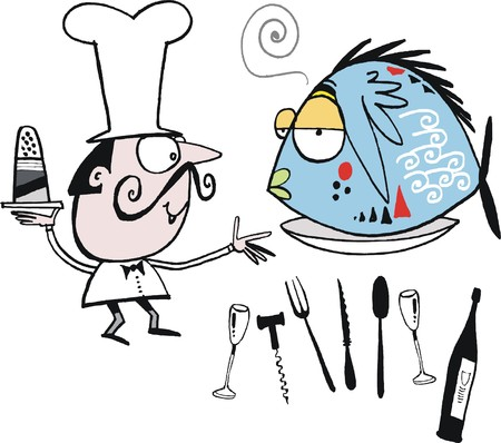 Vector cartoon of chef with fish dish cuisine Vector
