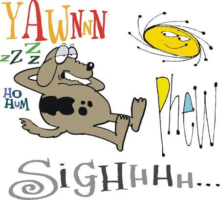 hum: Vector cartoon of sleepy dog yawning in sun Illustration