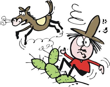 hand cartoon: Vector cartoon of dazed cowboy thrown off horse Illustration