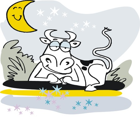 dozing: Vector cartoon of sleepy cow relaxing in field at night