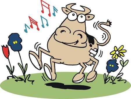 Vector cartoon of happy dancing cow Vector
