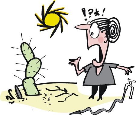 regando el jardin: Vector de dibujos animados de la abuela preocupada de riego del jard�n Vectores