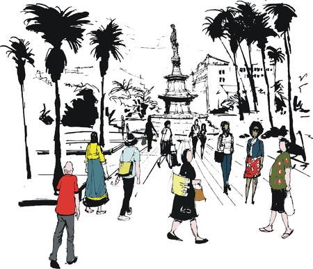Vector illustration of pedestrians, Coconut Square, Noumea New Caledonia Vector