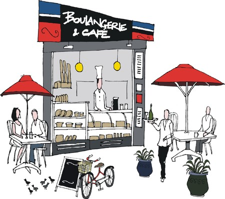 french bakery: Vector illustration of French cafe and bakery with diners