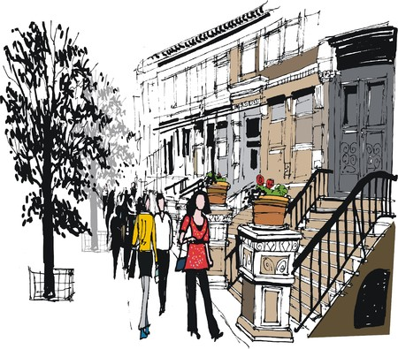 illustration of old brownstone buildings and pedestrians, New York