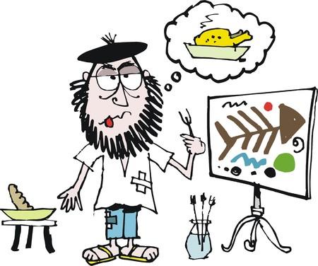 Vector cartoon of starving artist Vettoriali