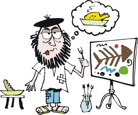 Vector cartoon of starving artist Stock Illustratie