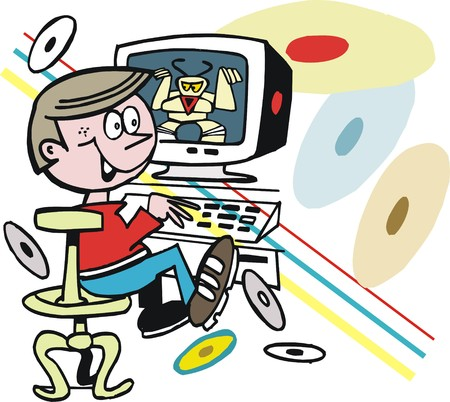 playing video game: cartoon of boy playing video game on computer Illustration
