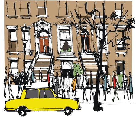 illustration of old brownstone building New York with pedestrians