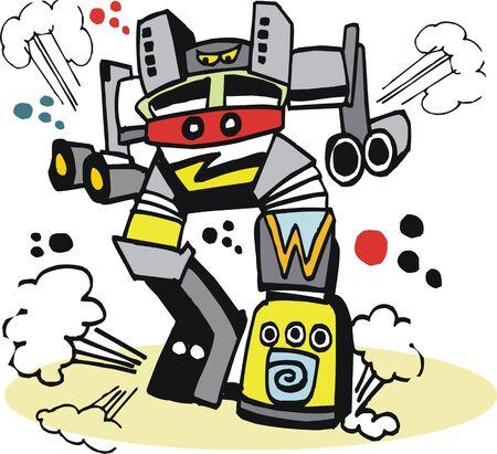 Vector cartoon of giant robot monster