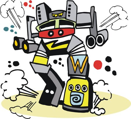 warlike: Vector cartoon of giant robot monster