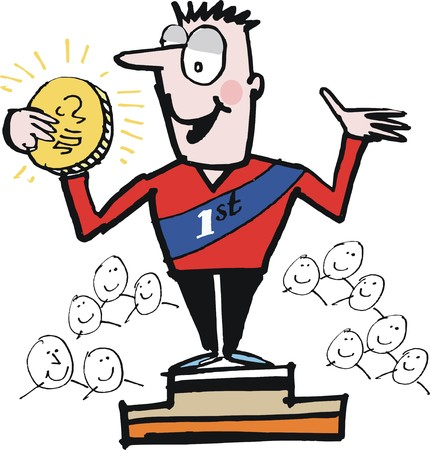 achiever: Vector cartoon of winner athlete with medal on dias Illustration