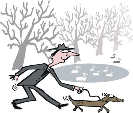 hombre flaco: Vector de dibujos animados del hombre delgado caminando perro largo y delgado en el parque