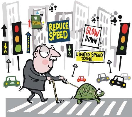 crossing the road: Vector cartoon of elderly man walking pet  tortoise in city Illustration