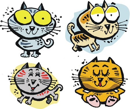 dozing: Group of four vector cartoon cats with big eyes