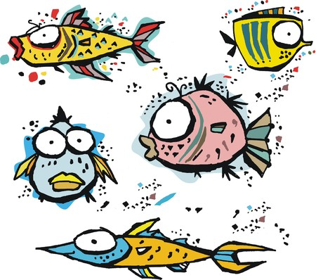 underwater fishes: Group of funny vector cartoon fishes underwater