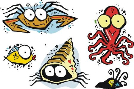 hermit: Group of funny vector cartoon sea creatures including octopus