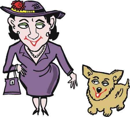 lookalike: Vector cartoon of smiling woman with corgi pet dog Illustration