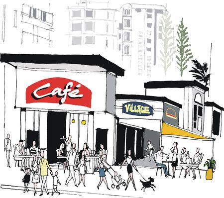 caf: Vector illustration of urban  cafe scene with pedestrians and diners