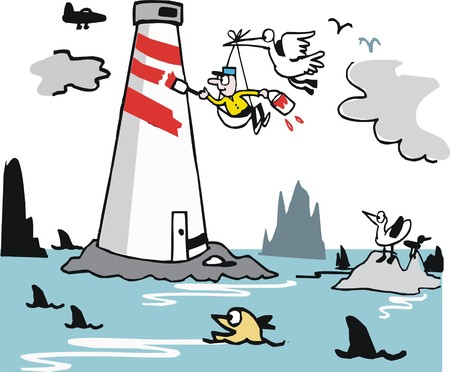 lighthouse keeper: Vector cartoon of man painting lighthouse stripes by ocean.