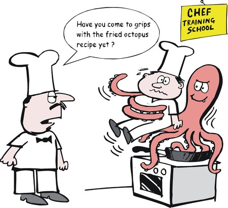 Vector cartoon of chefs cooking octopus dish on stove Vector