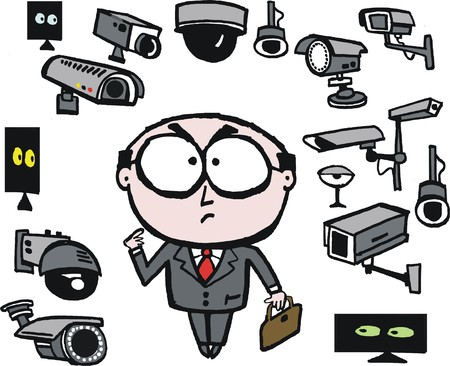 big brother spy: Vector cartoon of businessman surrounded by security cameras