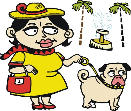 pug dog: Vector cartoon of woman with pug dog Illustration