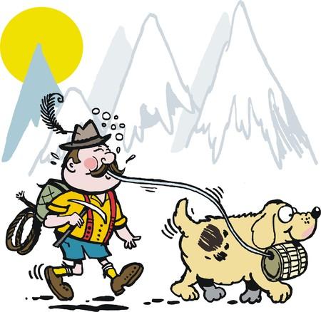peak hat: Vector cartoon of Swiss mountaineer with St. Bernard dog