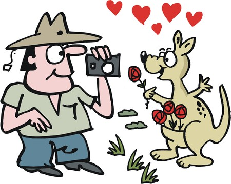 smiing: Vector cartoon of tourist in Australian outback with kangaroo
