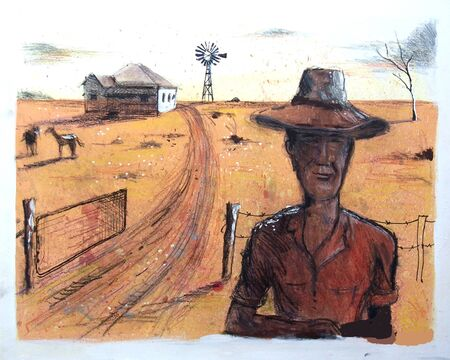 the outback: Painting of farmer and homestead, outback Australia