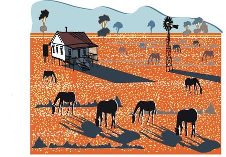 dryness: illustration of Australian outback farm